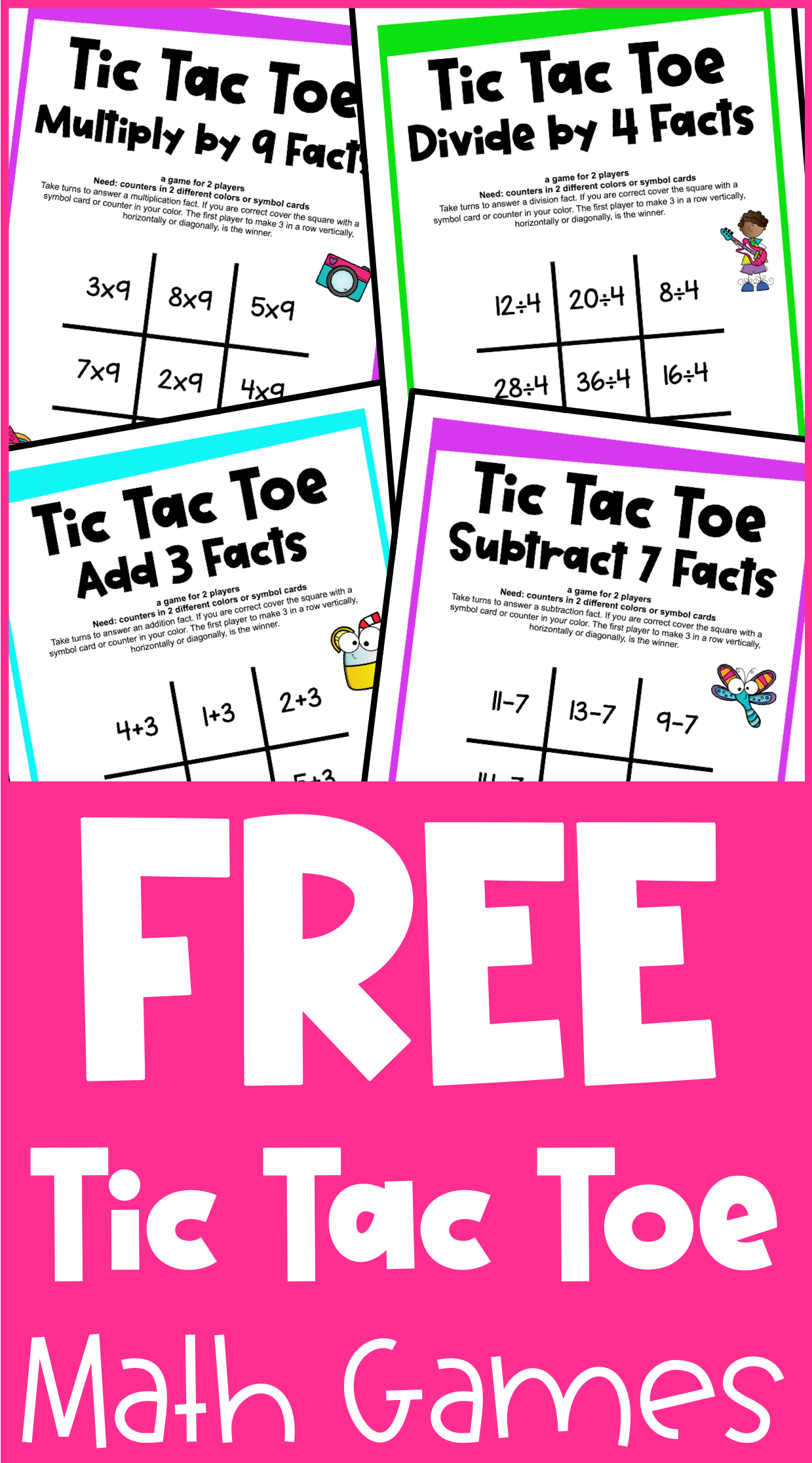 These Free Tic Tac Toe Math Games Are The Fun Way To