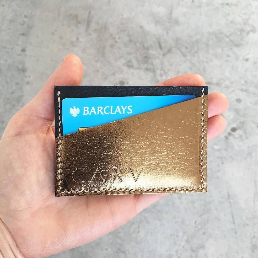A sparkly little card holder in the asymmetric Pioneer style - buy via our website now to receive for Christmas - just 4 days left to get your gifts posted in time!  #christmaspresentidea #stockingstuffers #stockingfiller #leathercardholder #cardholder #madeinlondon #carvlondon
