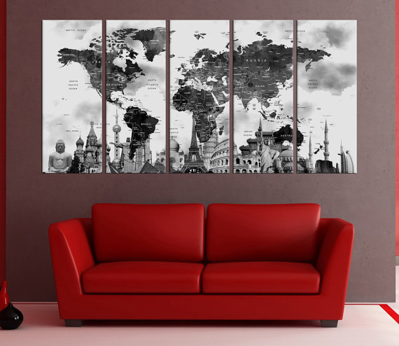 Push pin world map canvas wall art set world map push pin with push pin world map canvas wall art set world map push pin with countries world map wall decal black and white wall art prints gumiabroncs Image collections