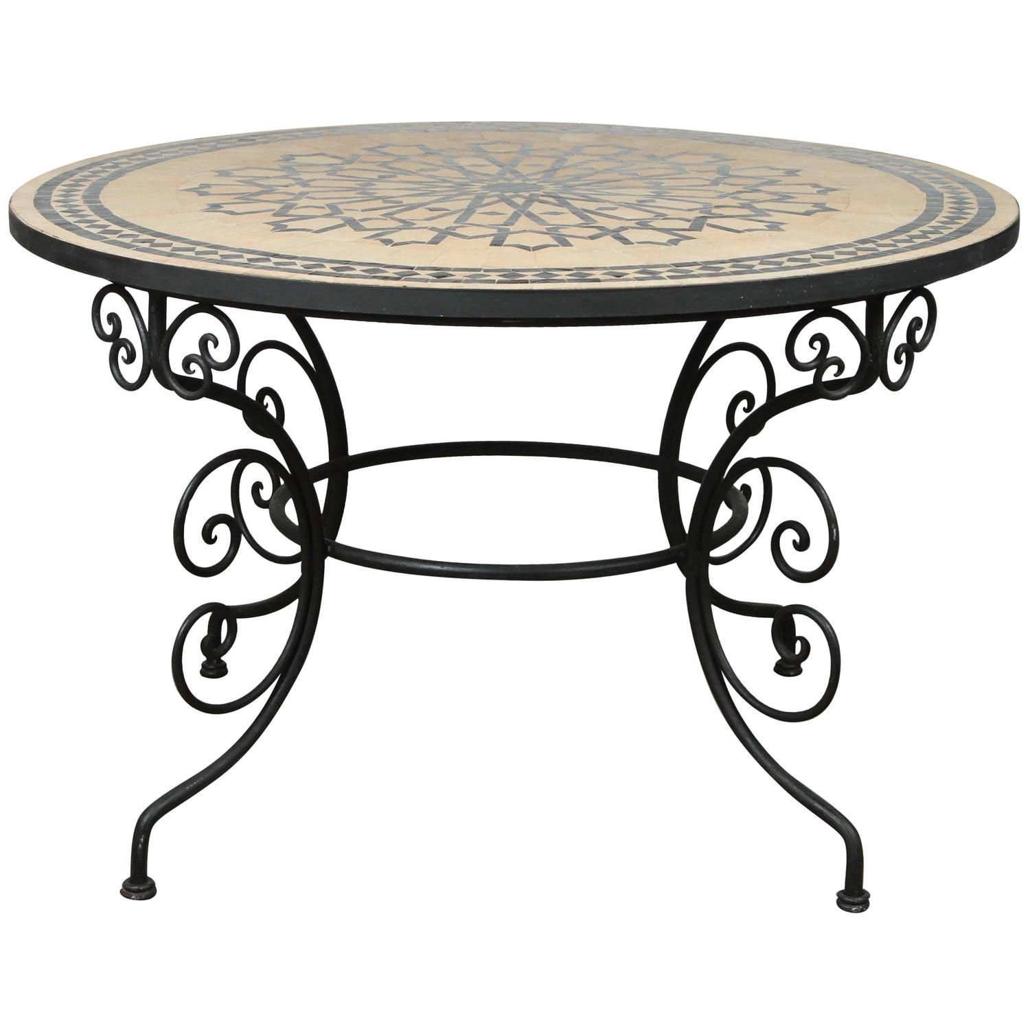 Moroccan Outdoor Round Mosaic Tile Dining Table on Iron ... on Outdoor Living Iron Mosaic id=67433