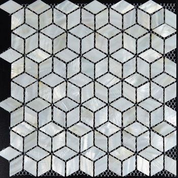 White Mosaic Tile Backsplash Rhombus Kitchen Mother Of Pearl Tiles Diamond Bathroom Mirror Shower Wall Floor Shell With Images Shell Tiles Pearl Tile Mosaic Bathroom Tile