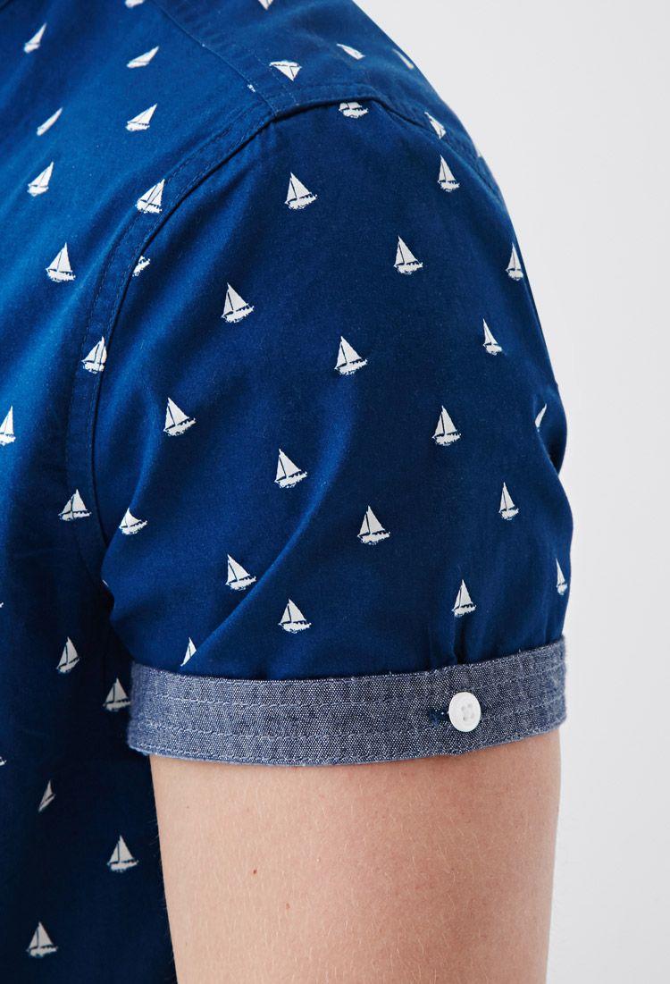 17 90 sailboat print button down shirt 21 men 2000079719