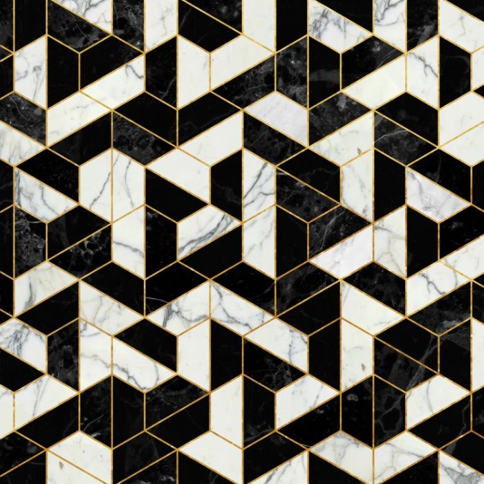 Black and white marble hexagonal pattern art print by for White marble floor designs