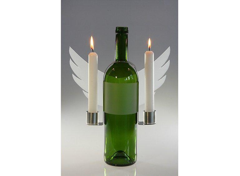 Portavelas en acero inoxidable y vidrio VINO E LUCE Colección Vino by OPOSSUM Design