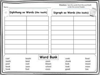Spelling Pattern Oo Word Work Pack Spelling Patterns Word Work Printable Lesson Plans