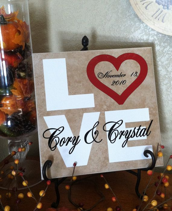 Craft Wedding Gifts: 12x12 Personalized Tile. LOVE, Great For Weddings