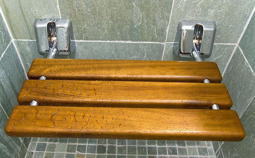 Teak flip down shower bench! … | Bathroom | Pinterest | Small ...