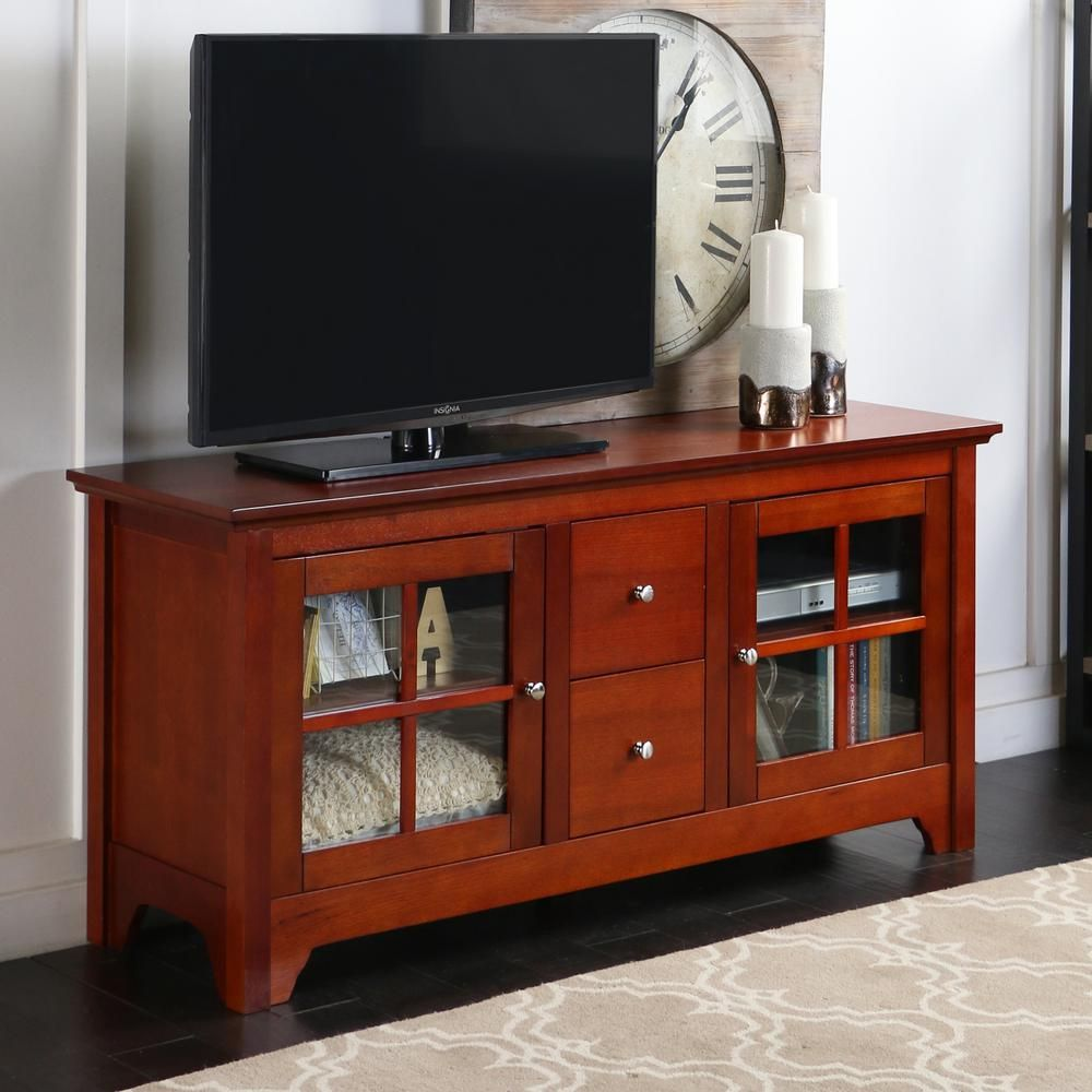 Walker Edison Furniture Company Becket Walnut Brown Entertainment Center W52c2dwwb Solid Wood Tv Stand Tv Stand With Storage Home Entertainment Furniture