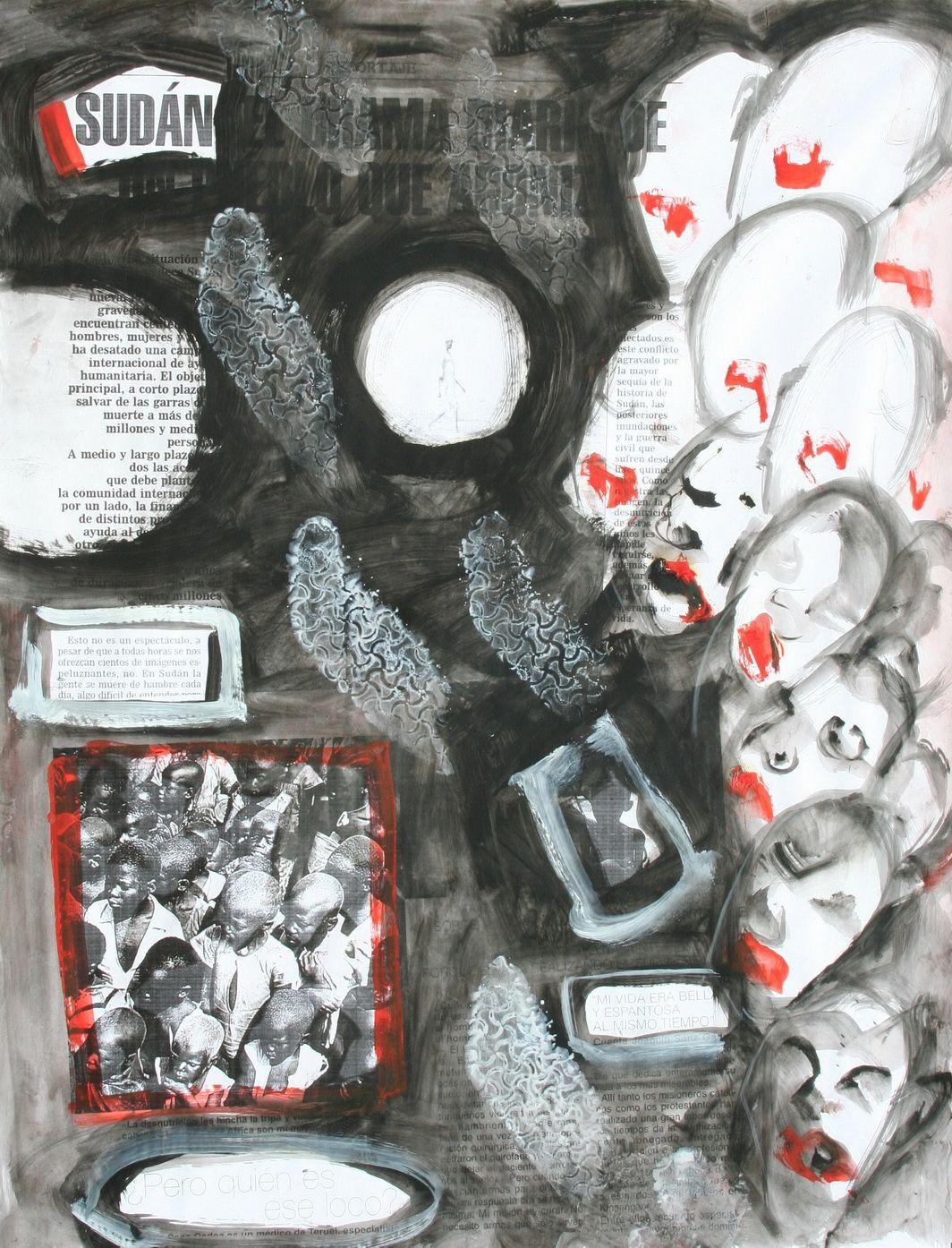 Jorge Rando utiliza desde principios de los 70 sus Papeles de África para atrapar esos registros inmediatos de la realidad. En la obra que presenciamos el artista utiliza como fondo la noticia de un periódico y colabora con su mensaje enfatizándolo. Imágenes y palabras comparten espacio en una realidad pisoteada. Un rostro mira hasta que sus rasgos se van desvaneciendo. Sobre el papel, imágenes y palabras… la gente se muere de hambre… esto no es espectáculo.