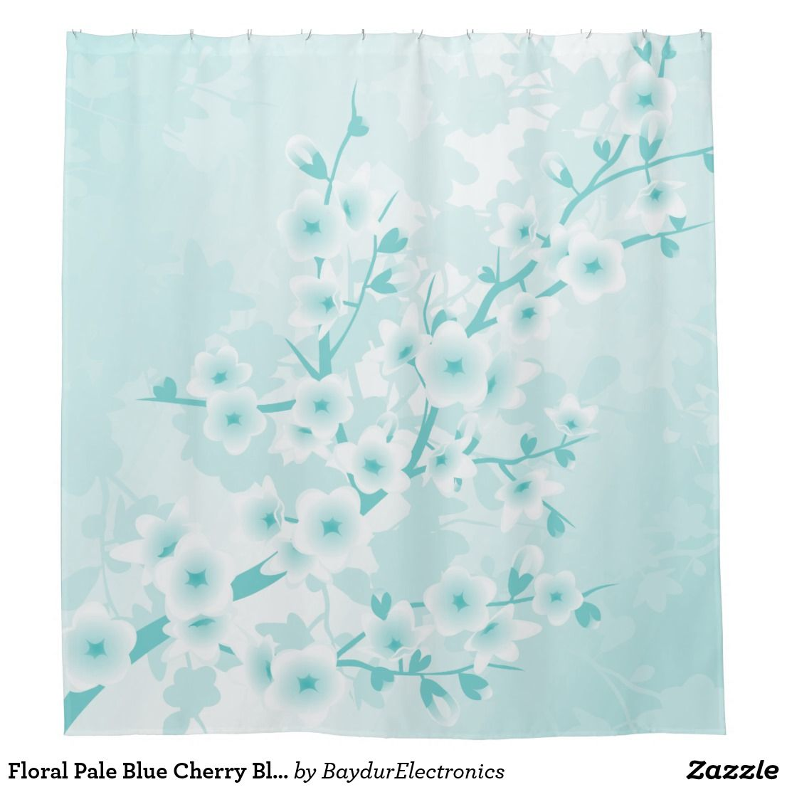 Floral Pale Blue Cherry Blossoms Classic Shower Curtain | Shower ...