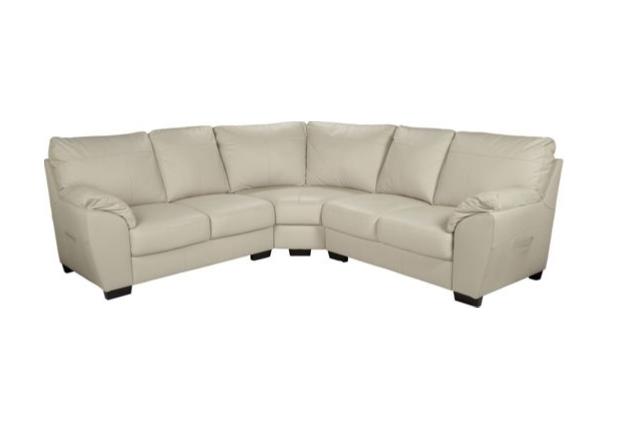 Vicenza Leather Corner Sofa Group Ivory Leather Corner