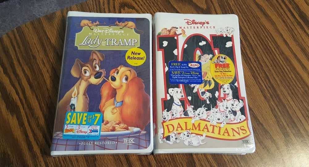 Lot Of 2 Disney Masterpiece Collection Vhs 101 Dalmations Lady And The Tramp Disney Lady And The Tramp Masterpiece 101 Dalmations