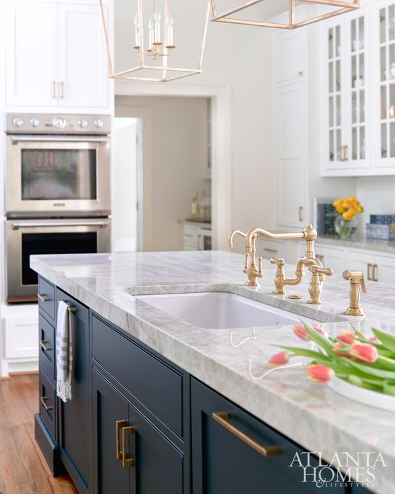Kitchen Island Accent Color: Navy Island, White Cabinets With Gold Accents