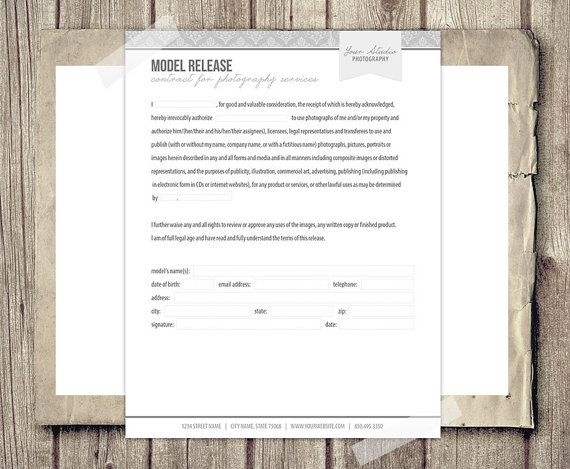 Model Release Form For Photographers  Photography Business Forms