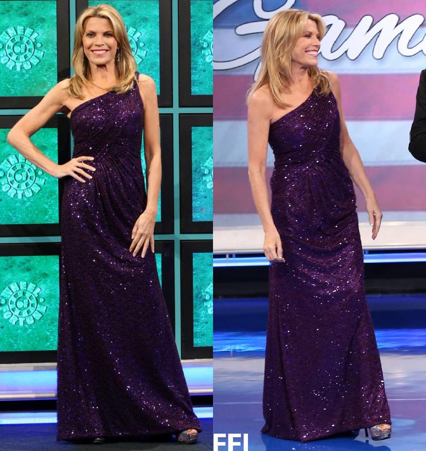 Vanna White Wears A 1-Shoulder La Femme 17018 Majestic Purple Sequin ...