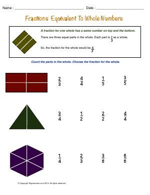 Worksheet   Fractions Equivalent to the Numbers   Understanding fractions equivalent to the whole numbers.