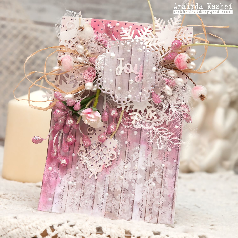новогодняя розовая открытка скрапбукинг фото красивое