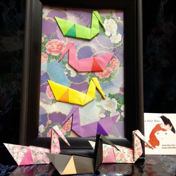 Origami Swan Art in 4x6 Frame Charming and Whimsical by LeNoirBleu *Swans symbolize true love and fidelity!*