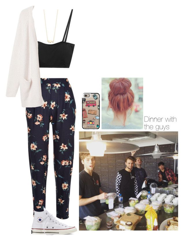 """""""Dinner with the 5sos guys"""" by lausantos ❤ liked on Polyvore featuring Chicnova Fashion, Casetify, Converse, Jennifer Meyer Jewelry, Monki, dayout, 5sos, girl and power"""