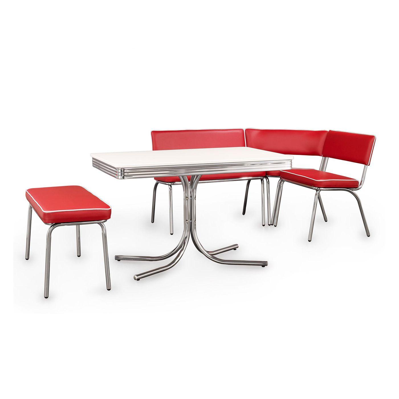 Coaster Fine Furniture Retro Chrome Corner Nook Dining Set Red