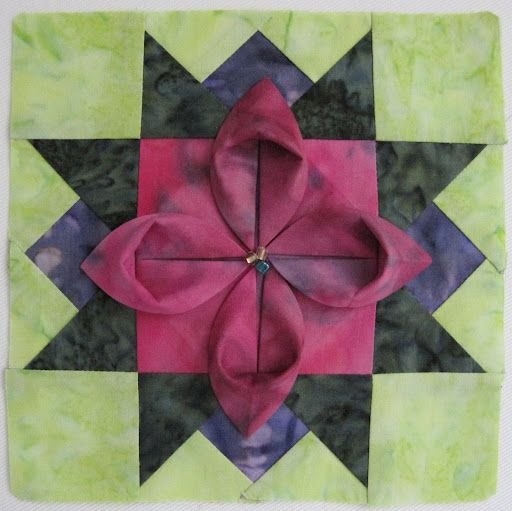 Folded flower block - love this, wish there were directions for ... : folded quilt blocks - Adamdwight.com