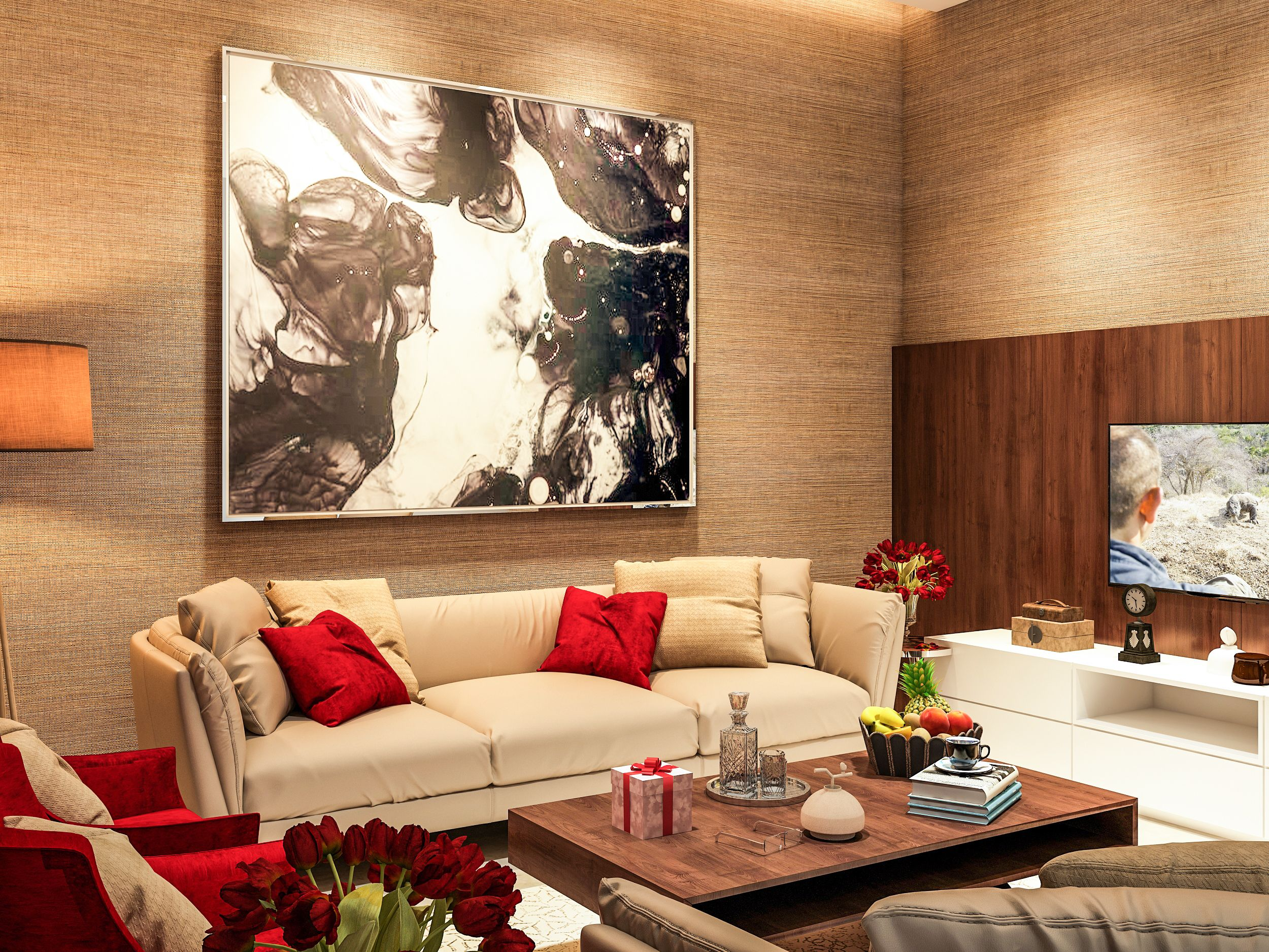 Living area designed and rendered for client