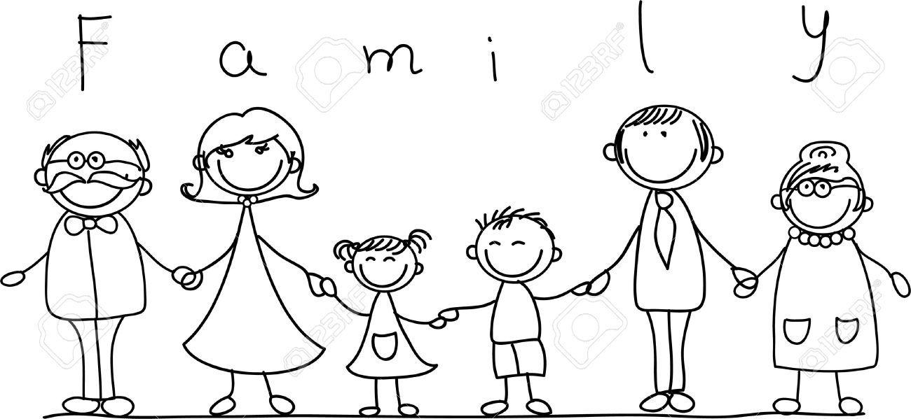 Familia Feliz La Mano Y Sonriendo Familia Feliz Familia Ilustracion Dibujo Abuela