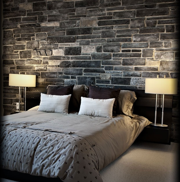 Bedroom Natrual Stone Accent Wall: Country Ledgestone - Black Rundle