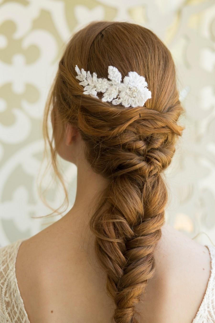 bridal lace hair comb, wedding lace headpiece, wedding hair