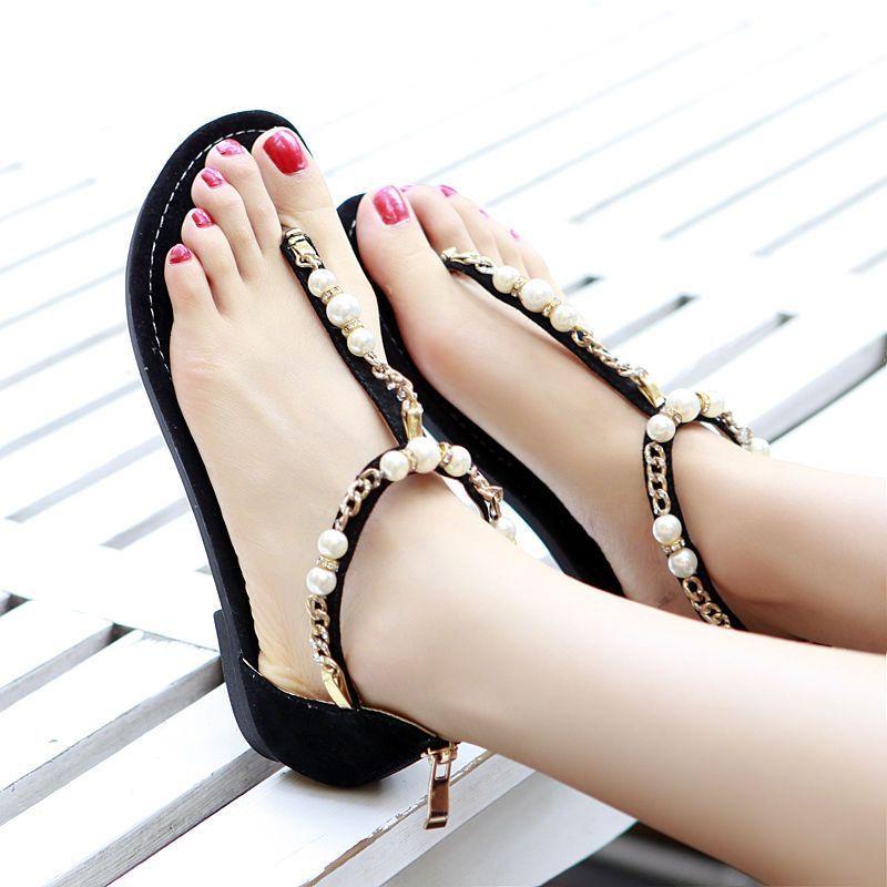 Womens T-Strap Beads Low Heels Flip-Flop Open Toe Zip Beach Collegiate Sandals