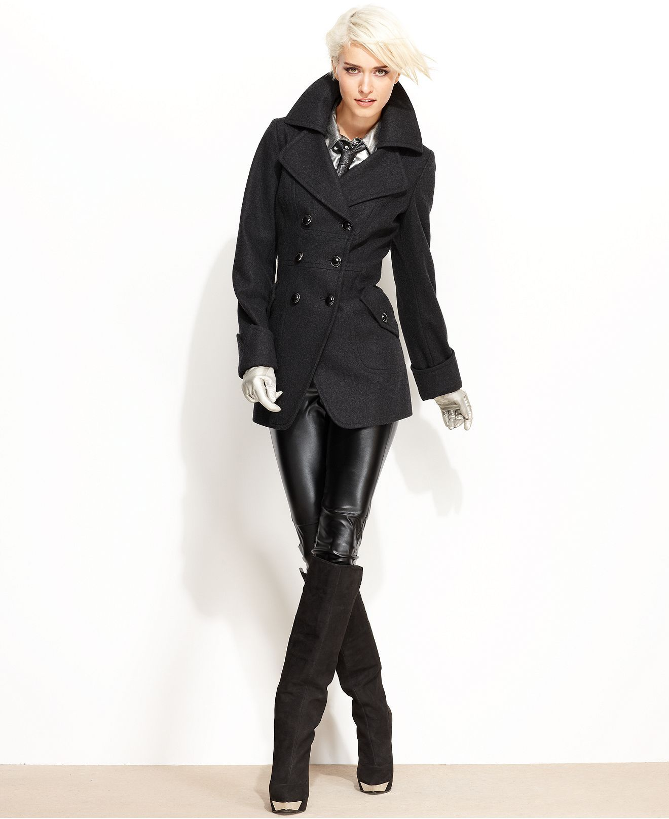 Guess Coat Wool Blend Cutaway Pea Coat Womens Coats