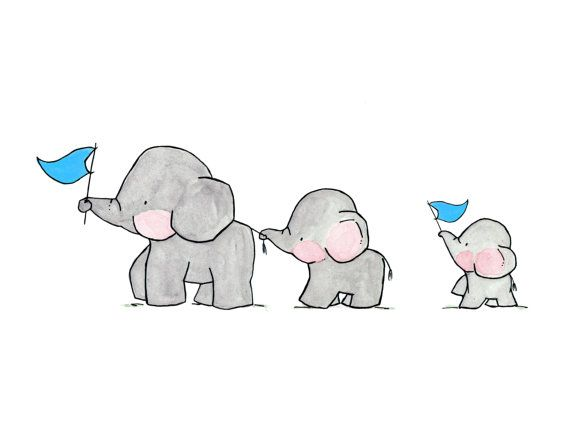 Elephants On Parade Archival Print Cosas Lindas Para Dibujar Dibujos De Elefantes Elefantes Bebe