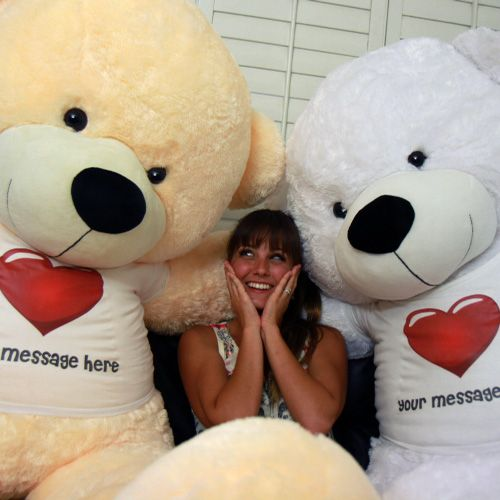 6ft Life Size Personalized Giant Teddy Bears For Valentine S Day Send A Message Of Love To Someone Special In A Red Heart Shirts Heart Shirt Cream Teddy Bear