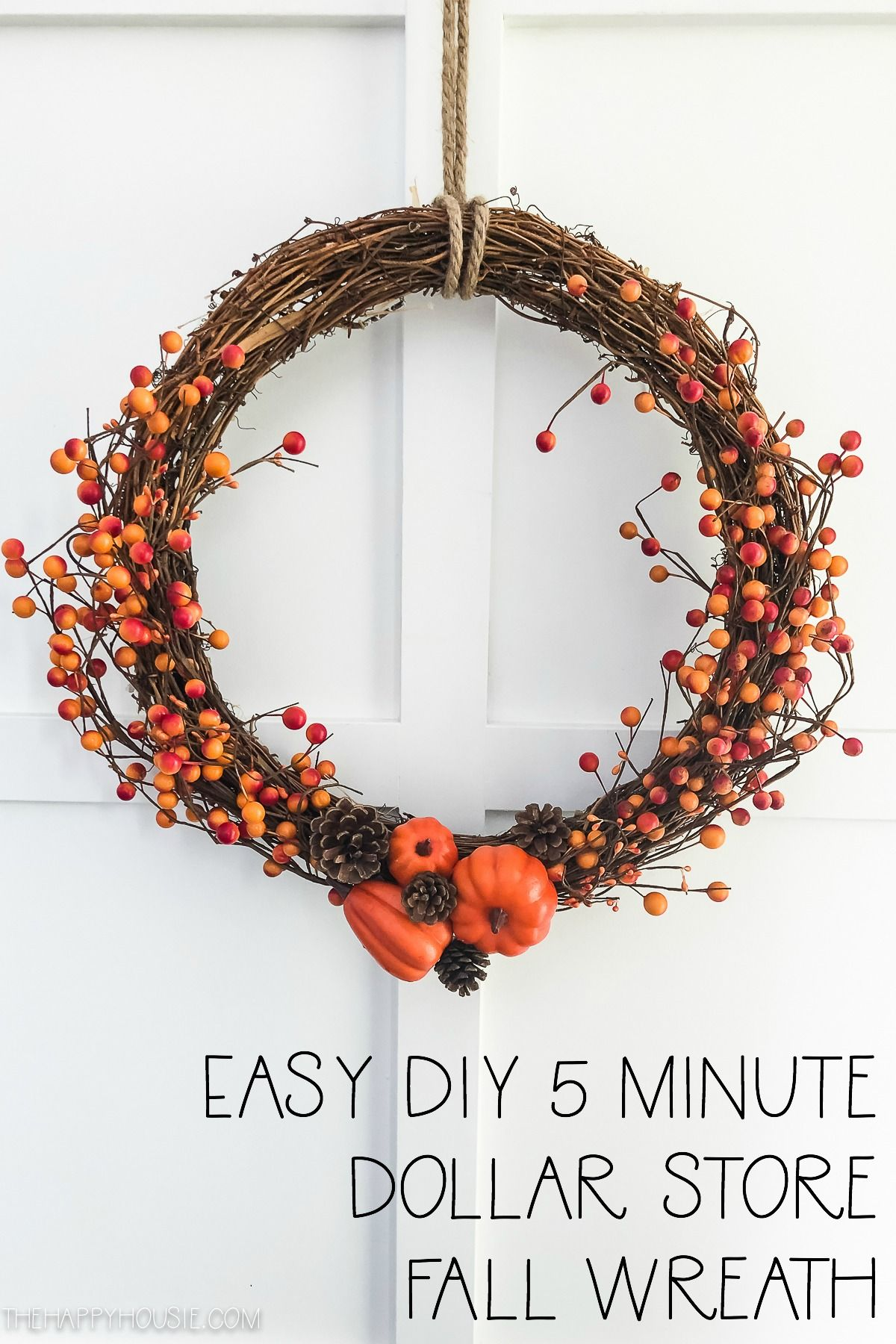 Easy DIY Dollar Store Fall Berry Wreath DIY #autumnseason
