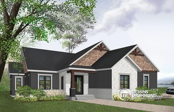 W3284-CJG - Modèle 3 chambres, garage double latéral, maison pour - site pour plan de maison
