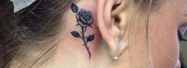 Discretos Tatuajes Detras De Las Orejas Tatuaje De Rosa En El Cuello Tatuaje Detras De La Oreja Tatuajes Para Ninas