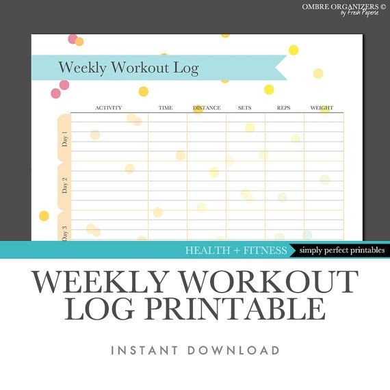 Weekly Workout Log Printable - Pastels - DIY Planner - Instant - blank workout sheet