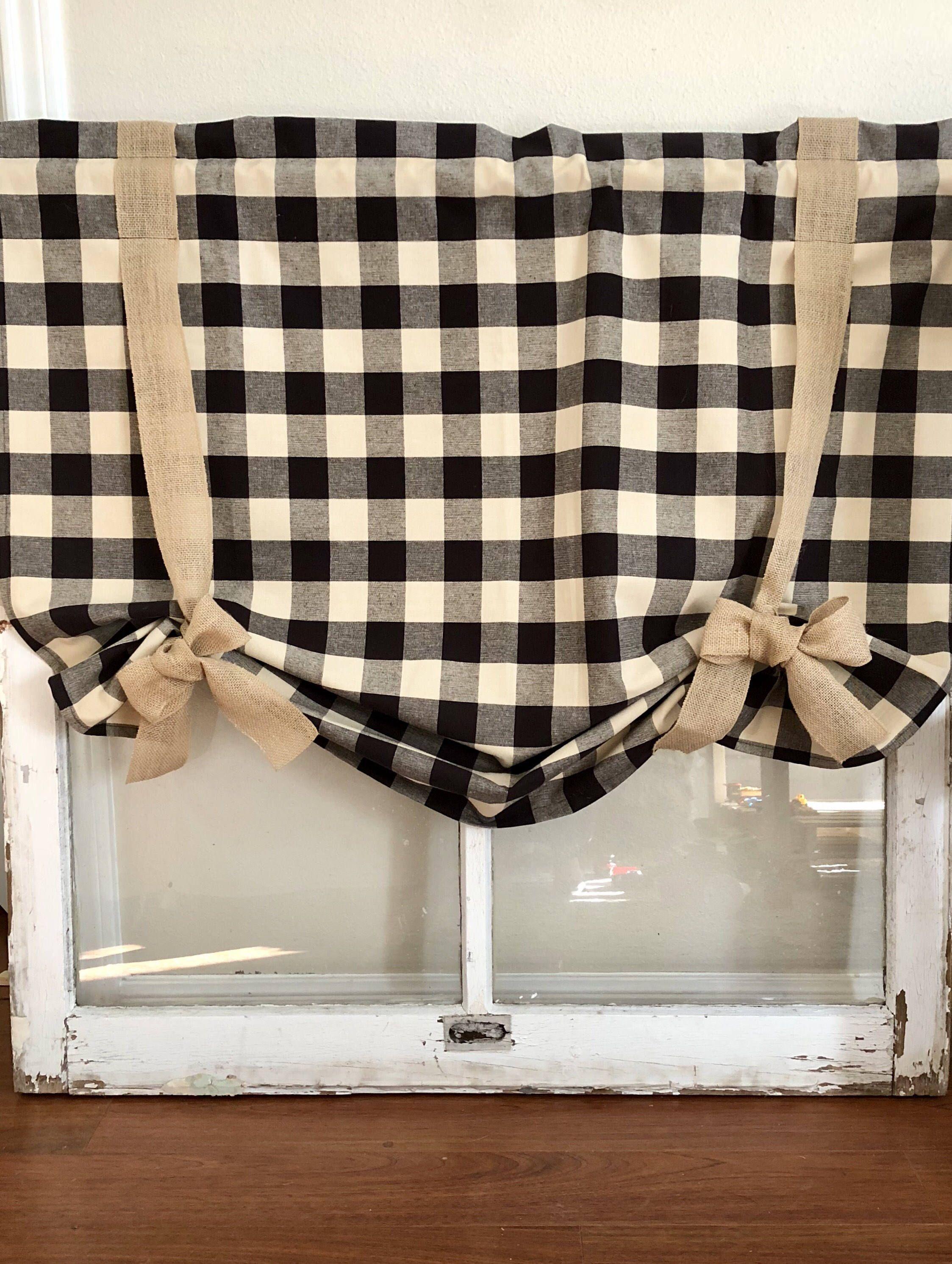 Cream Black Buffalo Plaid Curtain Plaid Curtains Buffalo Check