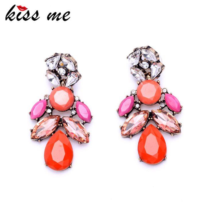 유럽 팝 여러 가지 빛깔의 물방울 클러스터 귀걸이 여성 문 보석 공장 도매