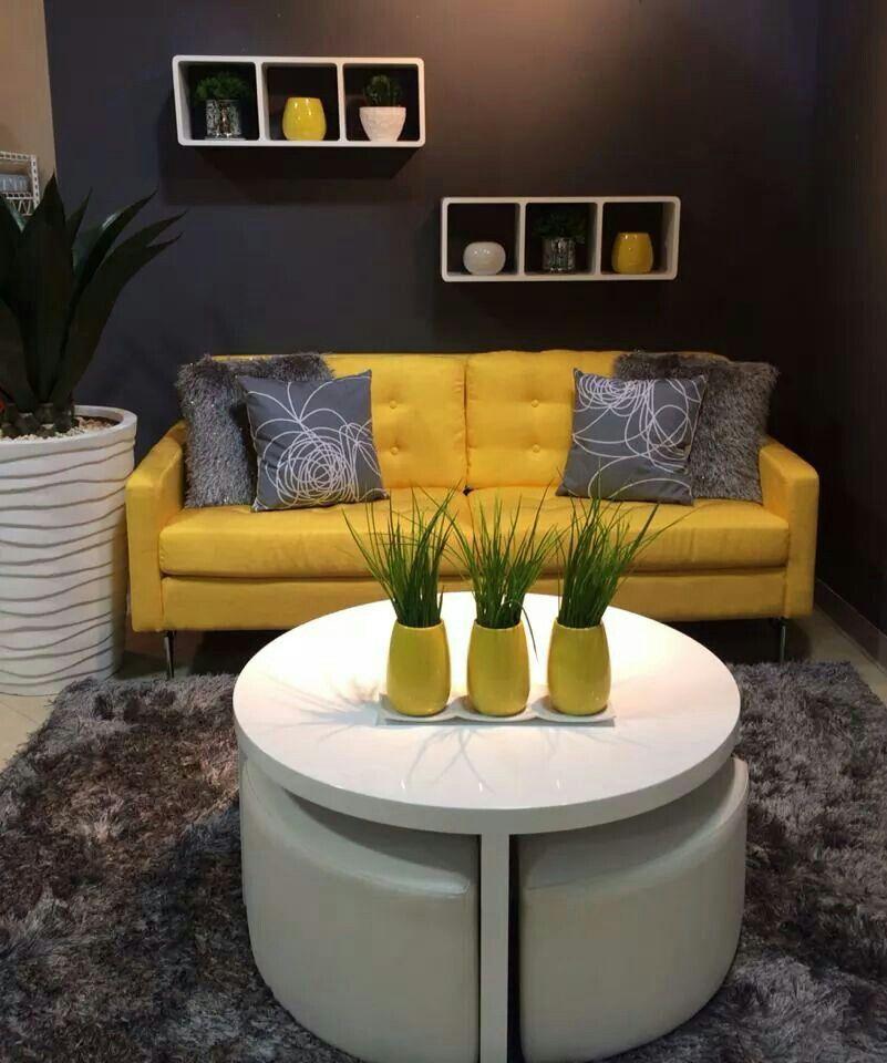 Amarillo y gris dise o interior amarillo pinterest for Decoracion de salas en gris y amarillo