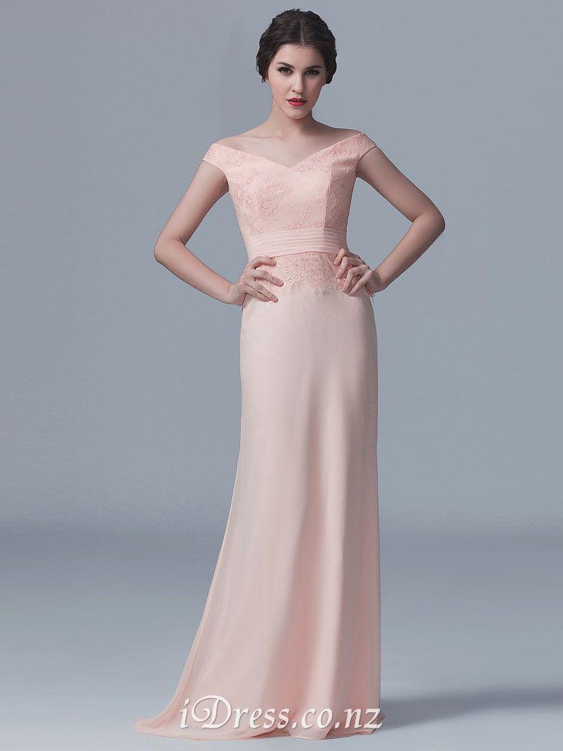 Vneck lace bodice long blush cap sleeves bridesmaid dress hair