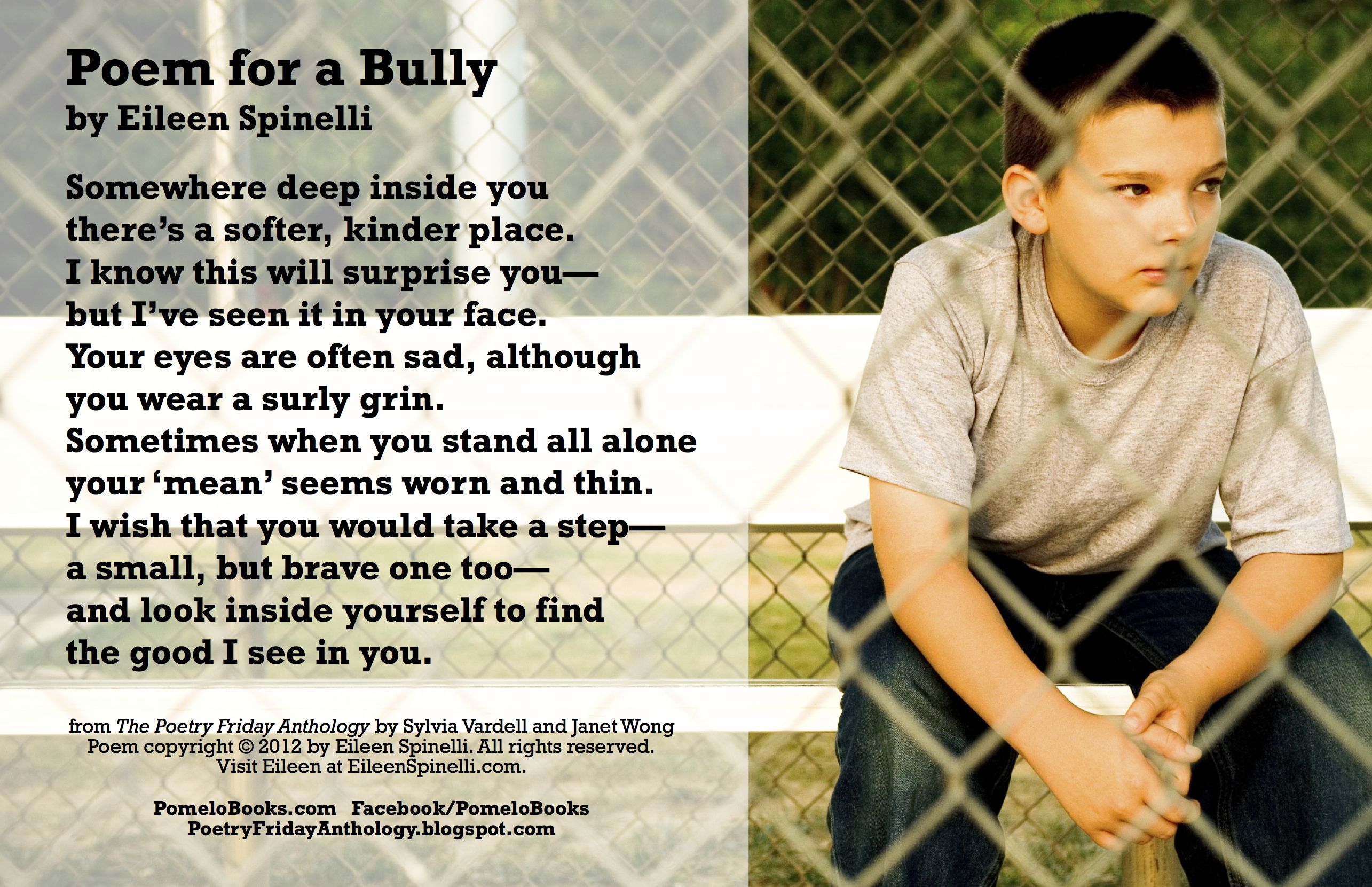 Poem For A Bully By Eileen Spinelli From The Poetry Friday Anthology K 5 Poems For The