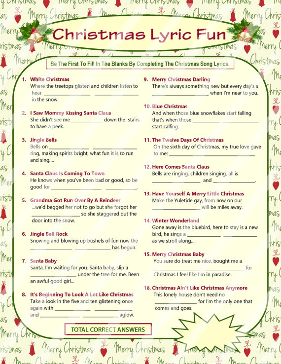 photograph about Guess the Christmas Song Printable named Xmas Game titles and other Enjoyable Pursuits Holiday seasons - Yule