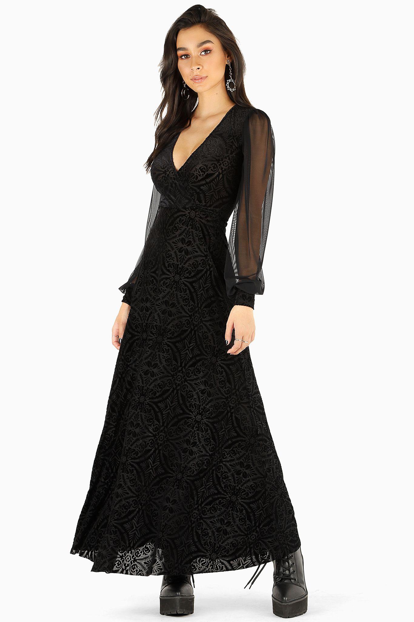 Burned velvet black sheer romance maxi dress bm limited
