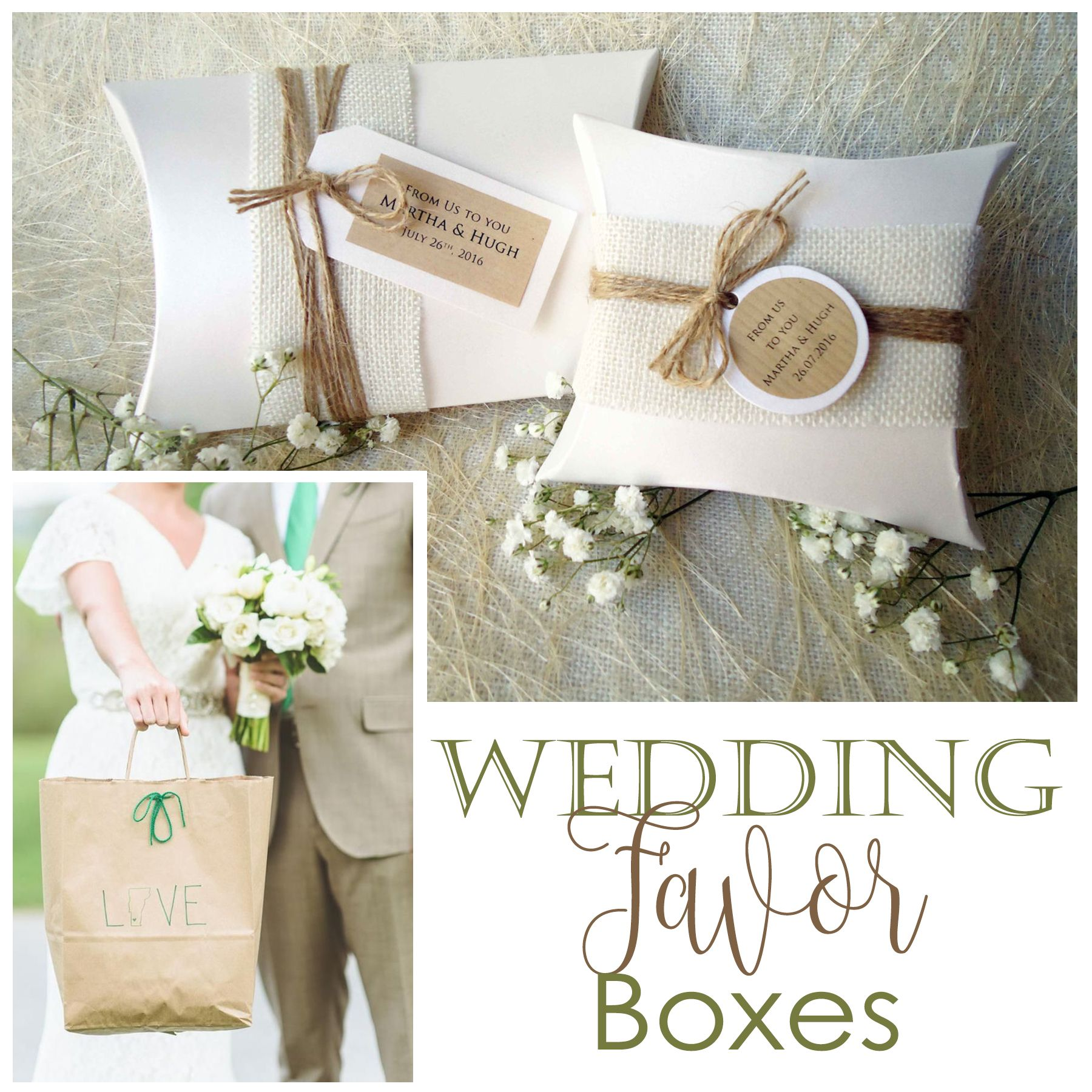 Square or Rectangular? White Favor Boxes with natural burlap and ...