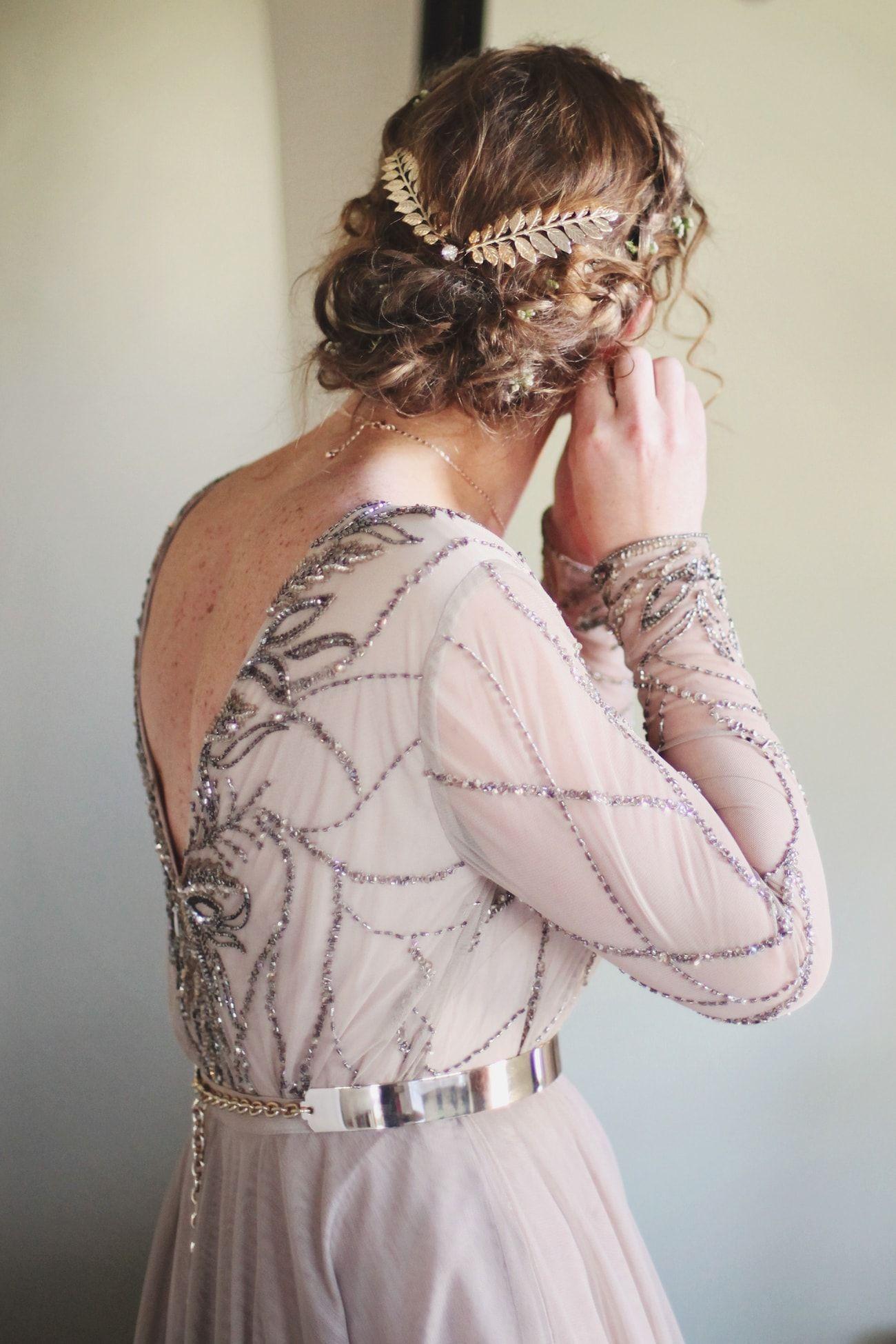 Boho wedding dress with romantic updo credit carmen roberts