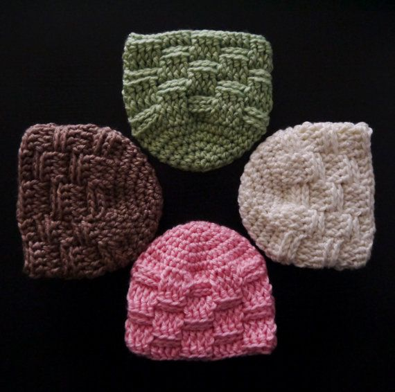 Baby Hat Basket Weave Pattern Crochet Hat Pink White Green And