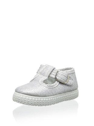 42% OFF Cienta Kid's T-Strap Sneaker (Silver)