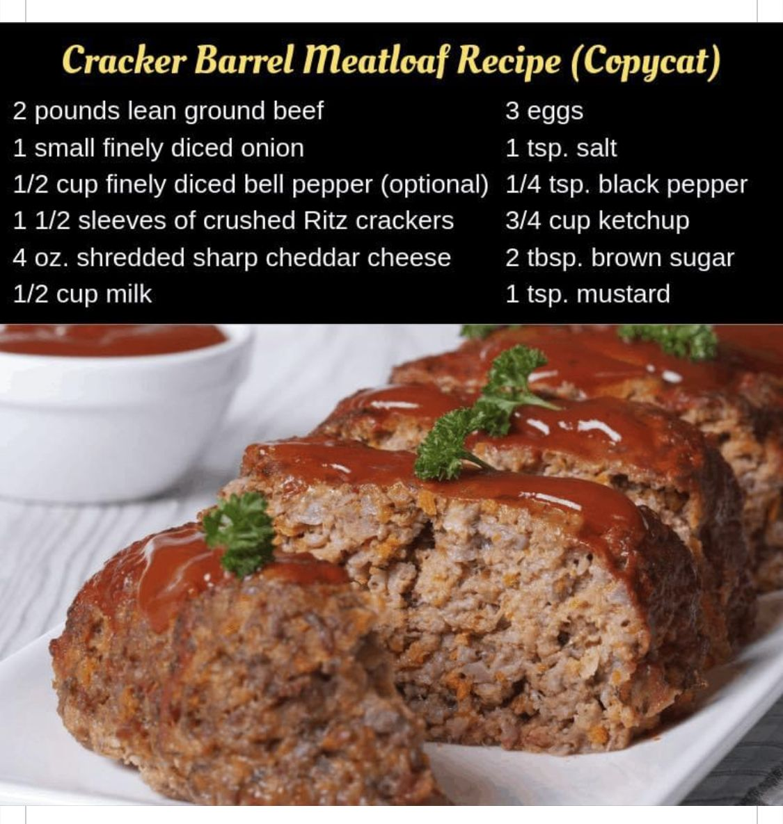 Pin By Amanda Winchester On Eat N Enjoy In 2020 Cracker Barrel Meatloaf Recipe Cracker Barrel Meatloaf Meatloaf Recipes