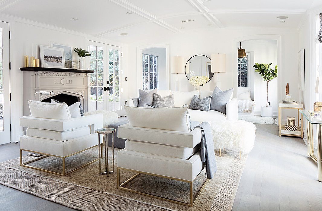 A Breezy White And Gray Living Room Design Screams Chic All Year Long